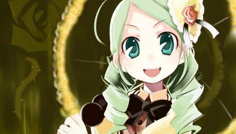 Ушики йошитака, розенская дева, канария, девушка, радость, зеленые волосы