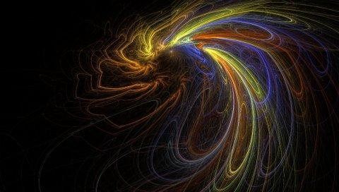Линия, форма, узор, дым, цветной