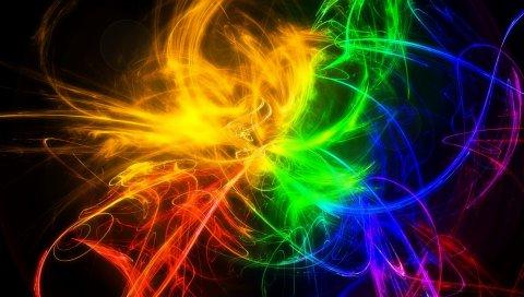 Дым, разноцветные, линии, узоры, яркие