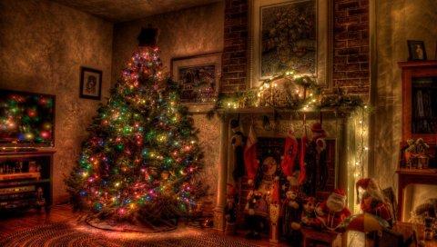 Дерево, рождество, праздник, гирлянда, камин, игрушки, чулки