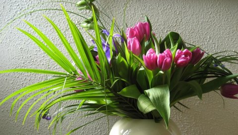 Тюльпаны, цветы, цветы, листья, зелень, ваза, стена