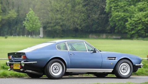 Aston martin, v8, салон, 1972, синий, вид сбоку, ретро, ??природа