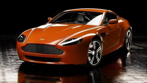 Aston martin, v8, vantage, 2008, оранжевый, вид спереди, отражение