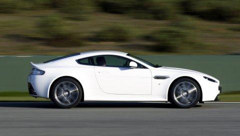 Aston martin, v8, vantage, 2011, белый, вид сбоку, автомобили, скорость