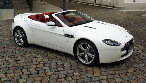 Aston martin, v8, vantage, 2008, белый, вид сбоку, стиль, кабриолет, улица