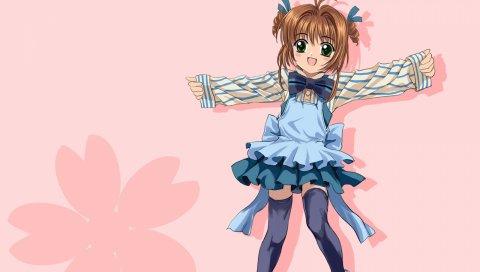 Карточный сакер, киномото сакура, девушка, радость, носки, платье