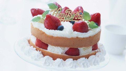 Торт, клубника, черника, подарок, день рождения
