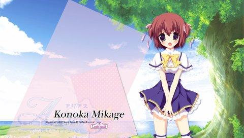 Miyasaka miyu, районы, mikage konoka, девушка, сюрприз, чулки, дерево