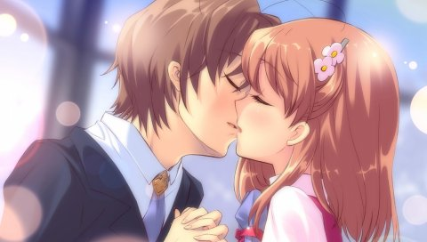 Itou noiji, летающее сердце, inaba yui, мальчик, девушка, поцелуй