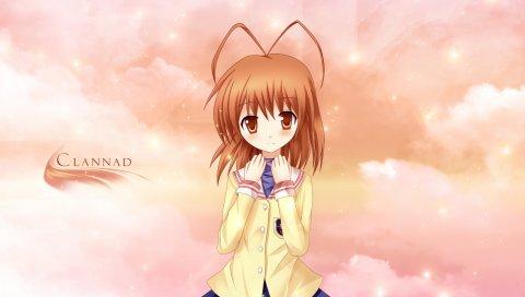 Clannad, furukawa nagisa, девушка, юбка, небо