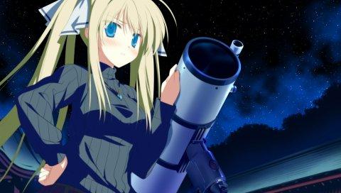 Shida kazuhiro, hoshizora no memoria, hisakaki komomo, девушка, блондинка, юбка, звездное небо