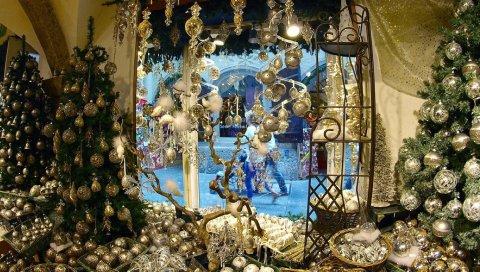 Деревья, рождественские украшения, атрибуты, магазин, магазин, обучение, праздник