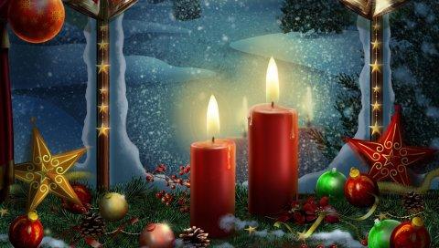 Новый год, праздничные свечи, открытки, игрушки, звезды, рождество