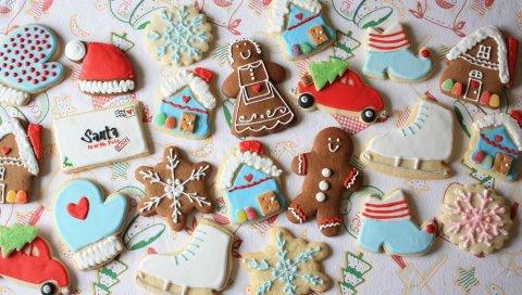 Новый год, рождество, печенье, конфеты, снежинки, обучение