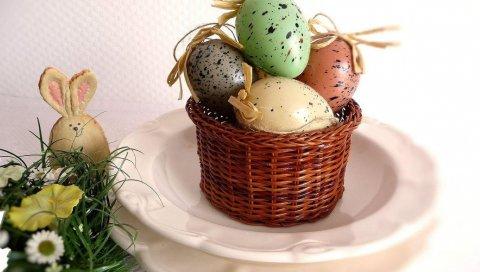 Паша, праздник, корзина, яйца, кролик, игрушка, цветы, травы, тарелки