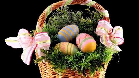 Пасха, праздник, корзина, яйца, ленты, зелень, черный фон