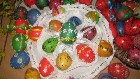 Паша, яйца, окрашенные, салфетки, стол, праздник