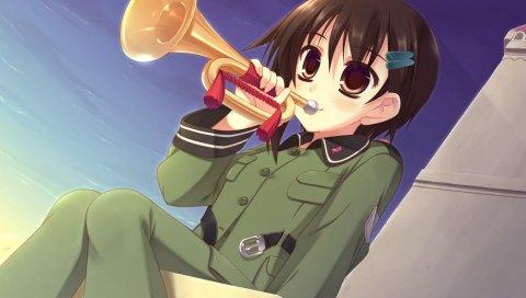 Sora no woto, sorami kanata, девушка, брюнетка, музыкальный инструмент, труба