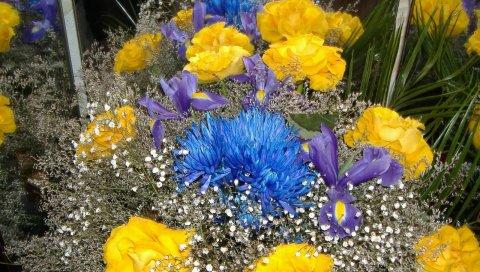 Роза, хризантемы, гипсофила, ирисы, букет, украшение, листья