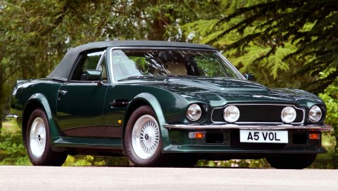 Aston martin, v8, vantage, 1984, зеленый, вид спереди, ретро, ??авто