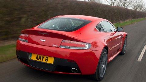 Aston martin, v8, vantage, 2012, красный, вид сзади, автомобиль, скорость