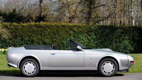 Aston martin, v8, 1988, серебро, вид сбоку, стиль, природа