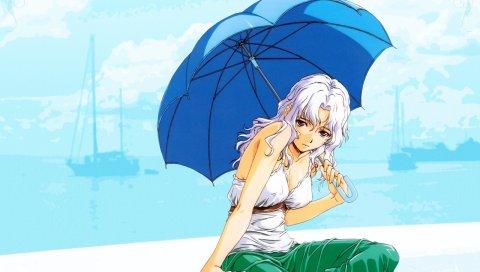 Horibe hiderou, девушка, блондин, зонт