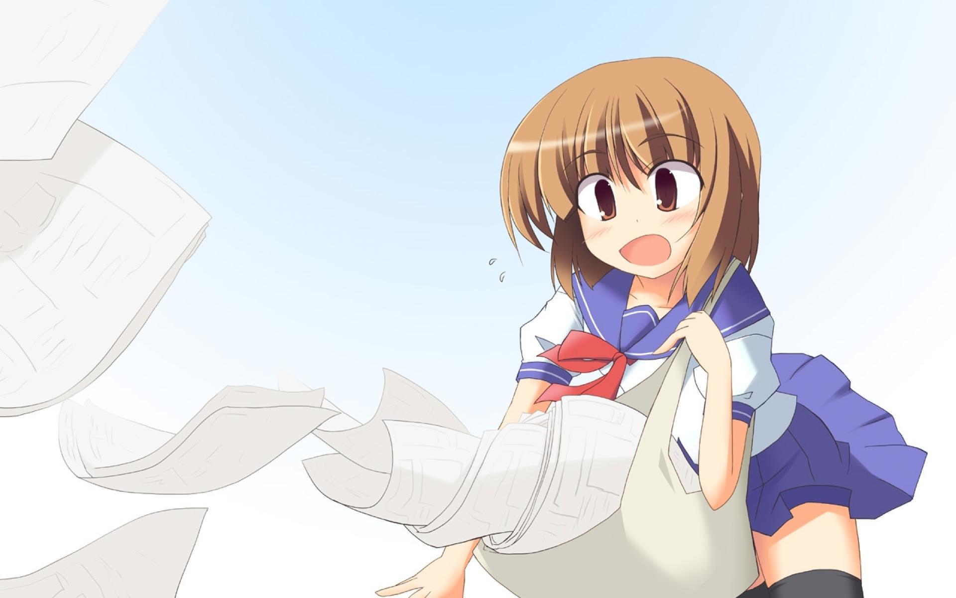 Картинки Nakamachi kana, девушка, почтальон, неуклюжесть, бумага фото и обои на рабочий стол