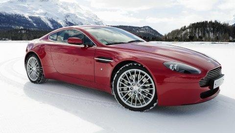 Aston martin, v8, vantage, 2008, красный, вид сбоку, автомобили, горы, снег
