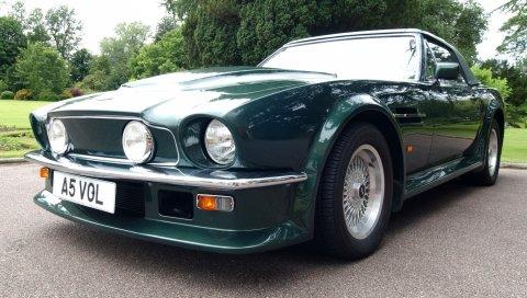 Aston martin, v8, vantage, 1984, зеленый, вид спереди, автомобиль, ретро