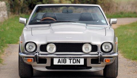 Aston martin, v8, volante, 1977, серебро, вид спереди, ретро, ??авто
