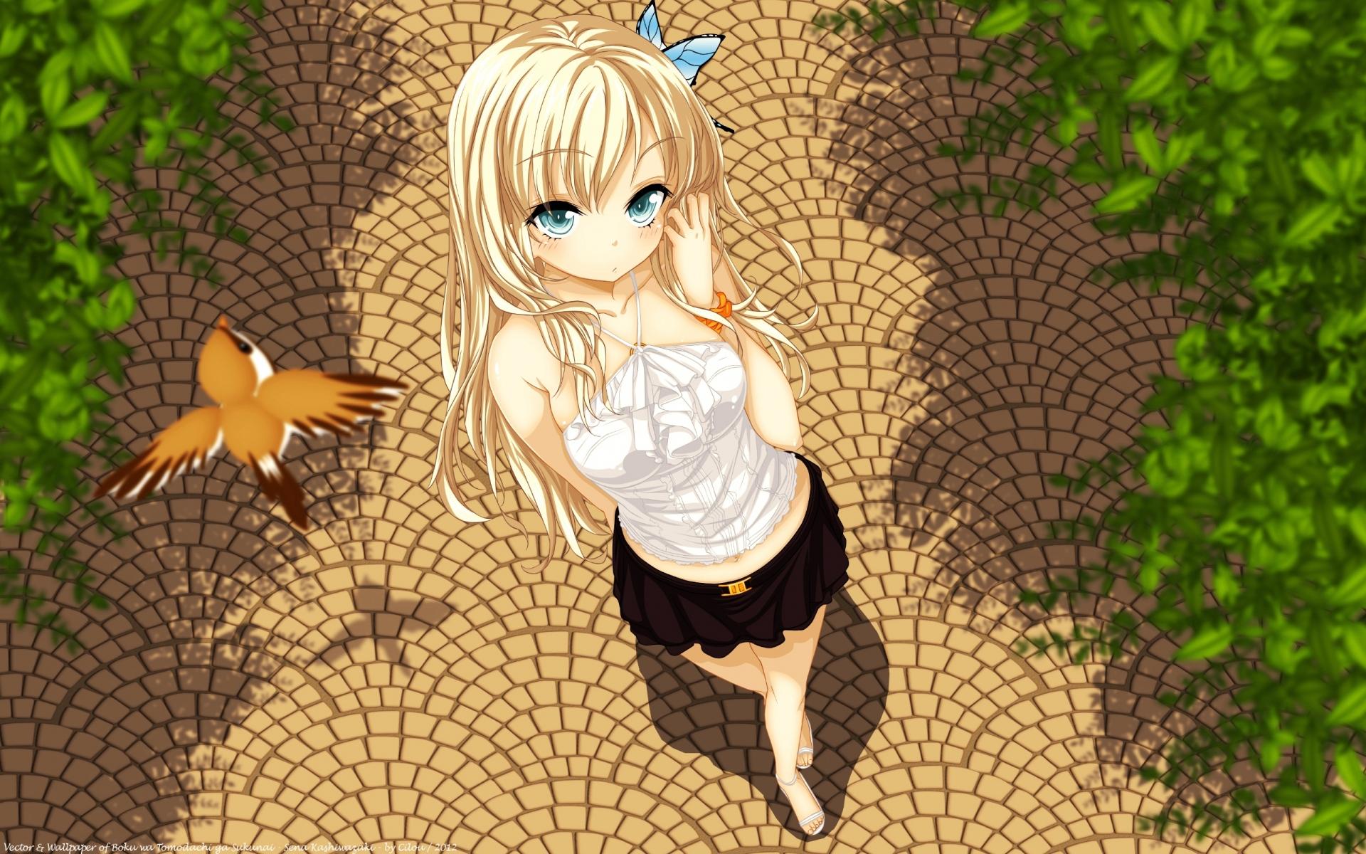 Картинки Buriki, boku wa tomodachi ga sukunai, kashiwazaki sena, девушка, блондинка, птица, муха фото и обои на рабочий стол