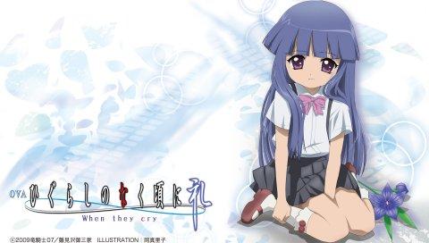 Higurashi no naku koro ni, furude rika, девушка, цветок, мед, поза