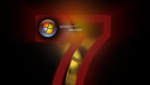 Windows 7, microsoft, красный, логотип, черный