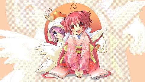 Itou noiji, nagi, hikaru, momose hikaru, девушки, кимоно, радость, крылья