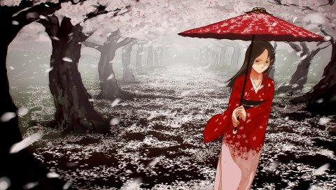 Mizu asato, девушка, кимоно, зонтик, ходьба