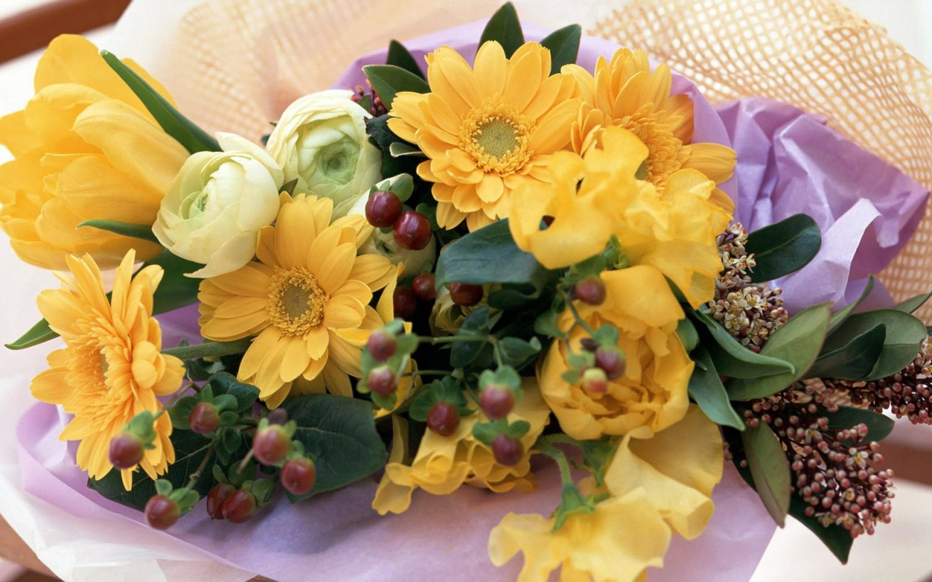 Картинки Гербер, тюльпанов, роз, цветов, букетов, украшений фото и обои на рабочий стол
