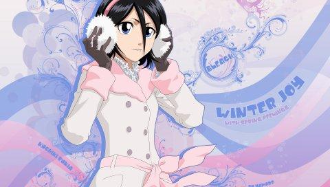 Bleach, kuchiki rukia, девушка, брюнетка, наушники, холод, перчатки