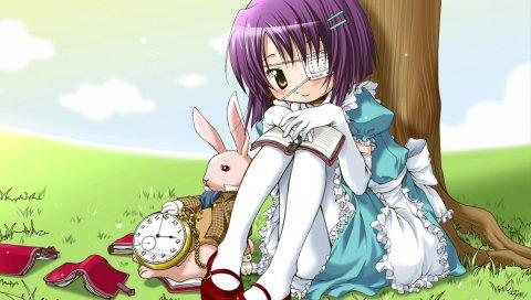 Сказка о двух, сказка о воспоминаниях, шиньо чихиро, девушка, кролик, дерево, часы
