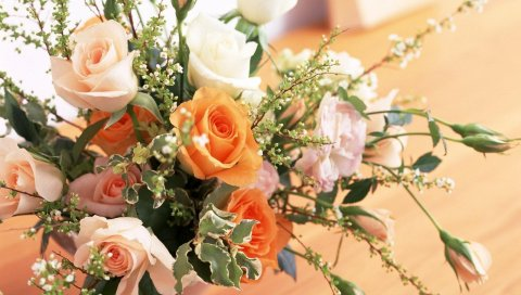 Розы, цветы, разные, цветок, композиция, ваза