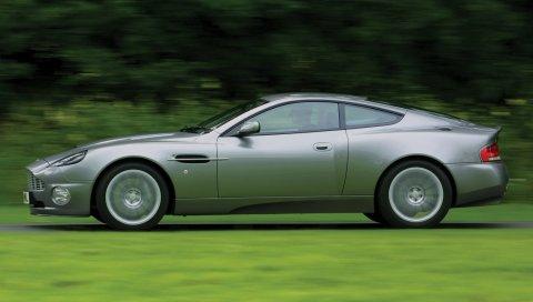 Aston martin, v12, победитель, 2001, серый, вид сбоку, стиль, природа
