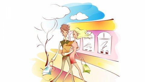 Пара, искусство, рисунок, любовь, ходьба, покупки, пакеты