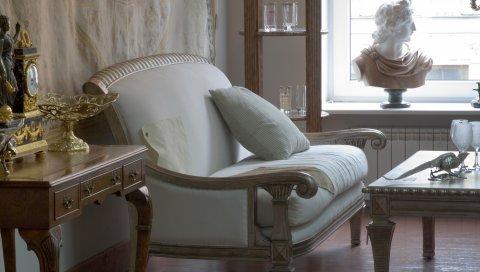 Бюст, диван, интерьер, комната, настроение, стиль, стол
