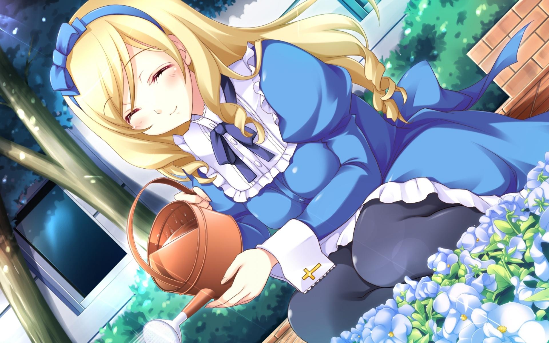 Картинки Гипер высокоскоростной гений, девушка сакуры, девушка, блондинка, клумба, цветы фото и обои на рабочий стол