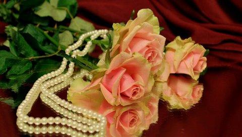 обои на рабочий стол розы и жемчуг скачать бесплатно № 126471 загрузить