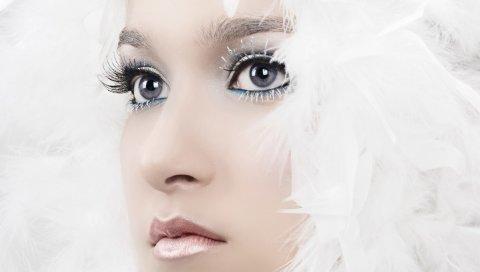 Девушка, лицо, перья, глаза, серые глаза, меланхолия, макияж