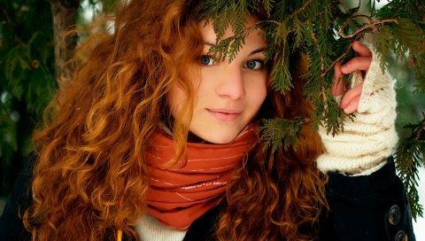 Девушка, рыжий, волосы, зима, улыбка