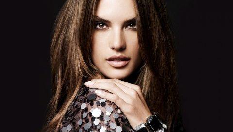 Alessandra ambrosio, брюнетка, модель, вид, тень, длинноволосого