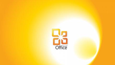 Microsoft, офис, желтый, белый, программа