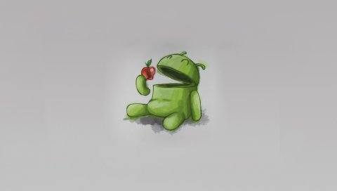 Андроид, яблоко, зеленый, красный, серый